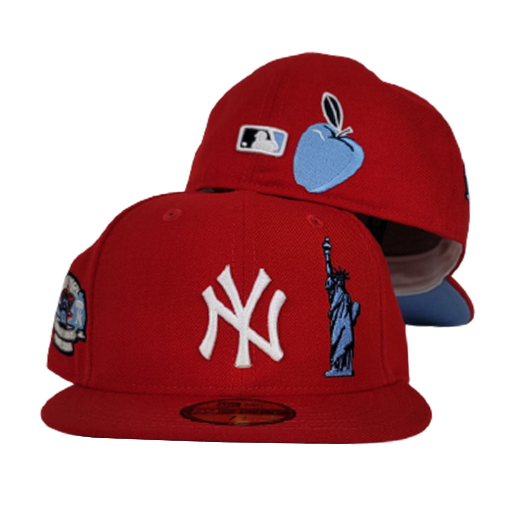 New York Yankees Red Icy Blue Bottom Subway Series Statue of Liberty New Era 59Fifty Fitted