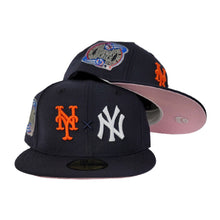 Load image into Gallery viewer, New York Yankees X New York Mets X Navy Blue 2000 Subway Series Pink Bottom New Era 59Fifty Fitted Hat