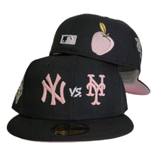 Load image into Gallery viewer, New York Yankees vs New York Mets Black 2000 World Series Pink Bottom New Era 59Fifty Fitted