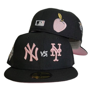 New York Yankees vs New York Mets Black 2000 World Series Pink Bottom New Era 59Fifty Fitted