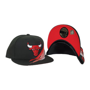 Paint Brushed Chicago Bulls Black New Era 9Fifty Snapback hat