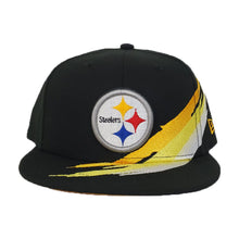 Load image into Gallery viewer, Paint Brushed Pittsburgh Steelers Black New Era 9Fifty Snapback hat