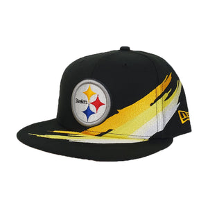 Paint Brushed Pittsburgh Steelers Black New Era 9Fifty Snapback hat