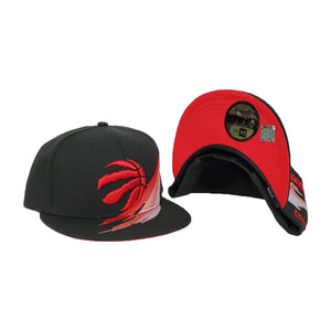 Paint Brushed Toronto Raptors Black New Era 9Fifty Snapback hat