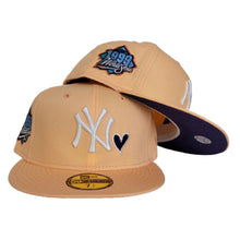 Load image into Gallery viewer, Peach Heart New York Yankees Purple Bottom 1999 World Series New Era 59Fifty Fitted