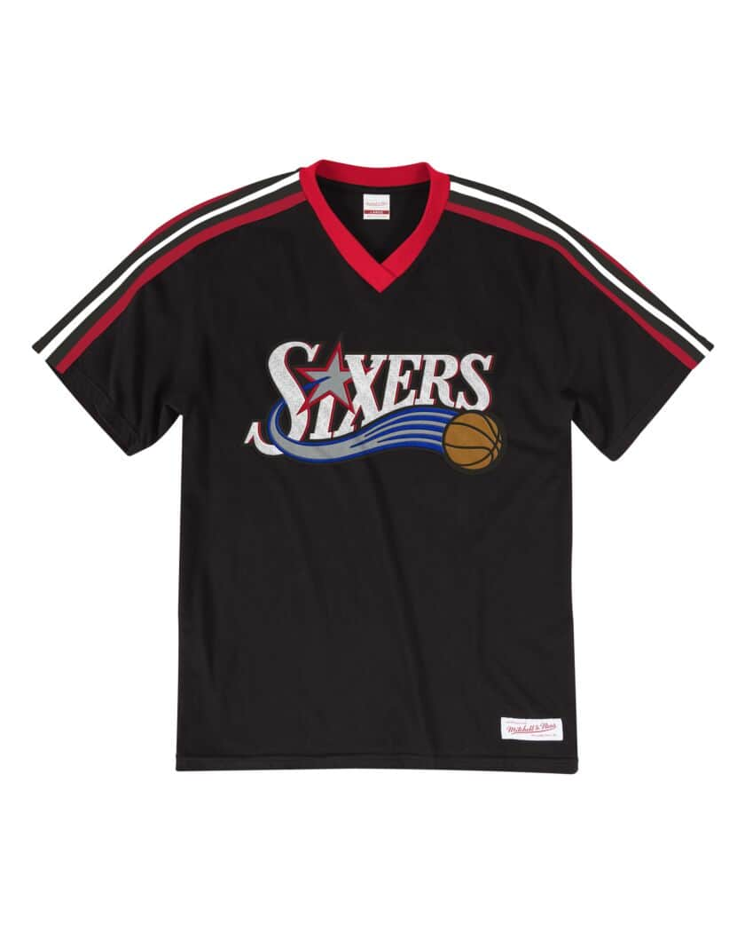 Philadelphia 76ers Mitchell & Ness Overtime Win V-Neck T-Shirt – Black