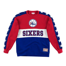 Load image into Gallery viewer, Philadelphia 76ers Mitchell & Ness Scorer Fleece Crew Sweatshirt