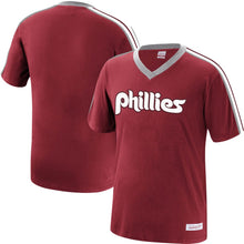 Load image into Gallery viewer, Philadelphia Phillies Mitchell & Ness Overtime Win V-Neck T-Shirt – Burgundy