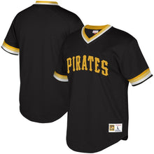 Load image into Gallery viewer, Pittsburgh Pirates Mitchell & Ness Mesh V-Neck Black Jersey