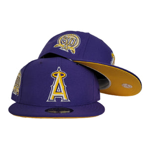 Purple Los Angeles Angels Yellow Bottom 50th Anniversary Patch New Era 59Fifty Fitted
