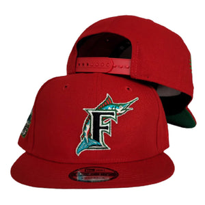 Red Florida Marlins Green Bottom 1993 Inaugural Side Patch New Era 9Fifty Snapback