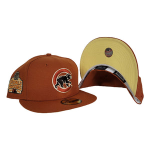 Rust Orange Chicago Cubs Soft Yellow Bottom 2016 World Series Side Patch New Era 59Fifty Fitted