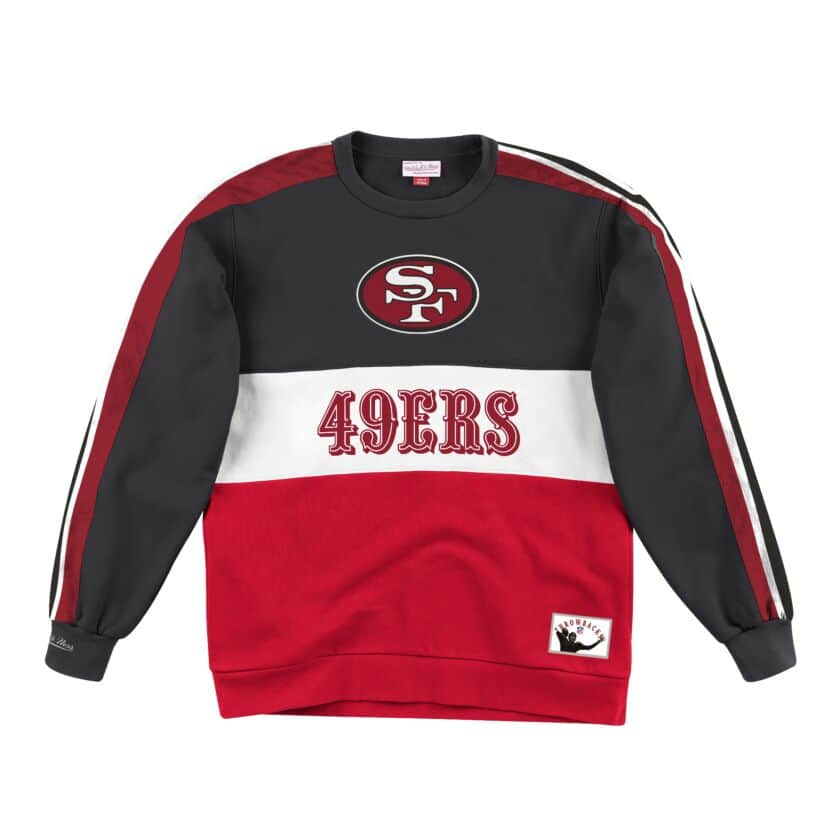 San Francisco 49ers Mitchell & Ness Scorer Fleece Crew Sweatshirt