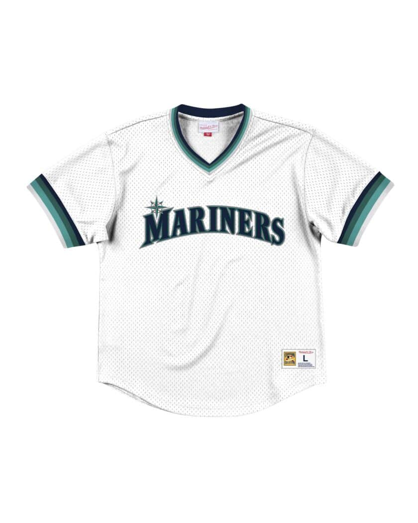 Seattle Mariners Mitchell & Ness Mesh V-Neck White Jersey