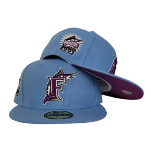 Sky Blue Florida Marlins Grape Purple Bottom 1993 Inaugural Patch New Era 59Fifty Fitted