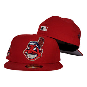 Swarovski Crystal Cleveland Indians Red Grey Bottom 1997 World Series New Era 59Fifty Fitted