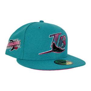 Teal Tampa Bay Rays Bright Pink Bottom 1998 Inaugural Season New Era 59Fifty Fitted