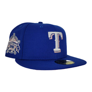Texas Rangers Royal Blue Pink Bottom 1985 All Star Game New Era 59Fifty Fitted