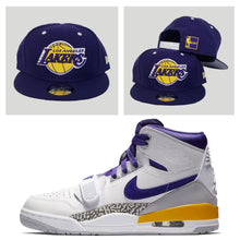 Load image into Gallery viewer, Matching New Era Los Angeles Lakers Snapback Hat For Jordan Legacy 312 Lakers