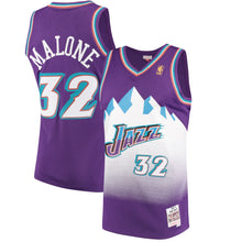 Load image into Gallery viewer, Utah Jazz 1996-97 Karl Malone Mitchell & Ness Purple Swingman Jersey