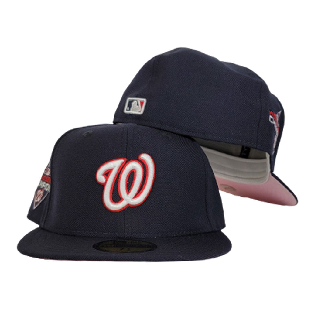 Washington Nationals Navy Blue Pink Bottom 2019 World Series Champions New Era 59Fifty Fitted