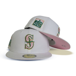 Product - White Seattle Mariners Pink Bottom 40th Anniversary Side Patch New Era 59Fifty Fitted
