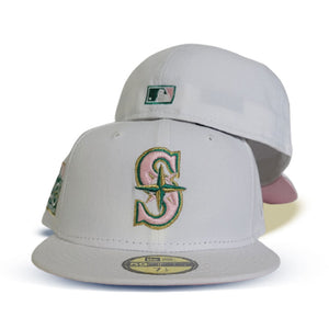 White Seattle Mariners Pink Bottom 40th Anniversary Side Patch New Era 59Fifty Fitted