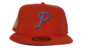 ORANGE PHILADELPHIA PHILLIES ICY BLUE BOTTOM 1950 WORLD SERIES NEW ERA 59FIFTY FITTED
