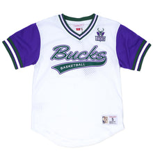 Load image into Gallery viewer, Mitchell & Ness Top Prospect Mesh V-Neck Milwaukee Bucks Jersey