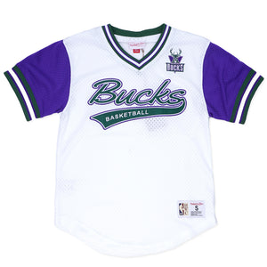 Mitchell & Ness Top Prospect Mesh V-Neck Milwaukee Bucks Jersey