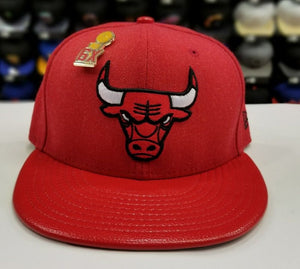 Exclusive New Era NBA RED Chicago Bulls 6X Pin Drop Championship fitted Hat Cap