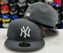 Load image into Gallery viewer, New Era 59Fifty MLB New York Yankee Charcoal Gray and White Logo Fitted Hat