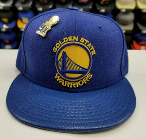 Exclusive New Era NBA 59Fifty Warriors 4X Pin trophy Championship fitted Hat Cap