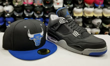 Load image into Gallery viewer, Matching New Era NBA Chicago Bulls 59Fifty Fitted hat for Jordan 4 Retro Black / Blue