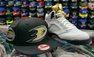 "Matching New Era Anaheim Ducks 9Fifty snapback for Jordan 5 ""Olympic"" Black gold"