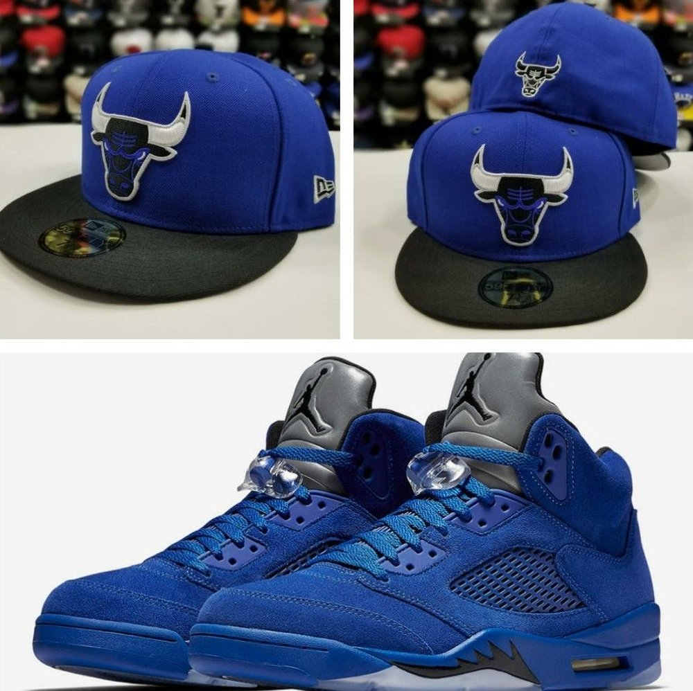 Matching New Era 59Fifty Chicago Bulls Fitted Hat for Jordan 5 Royal Blue Suede