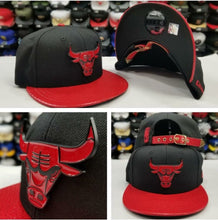 Load image into Gallery viewer, New Era 9Fifty NBA Chicago Bulls Black / Red Metal Badge Strapback Hat