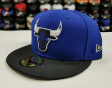 Load image into Gallery viewer, Matching New Era 59Fifty Chicago Bulls Fitted Hat for Jordan 5 Royal Blue Suede