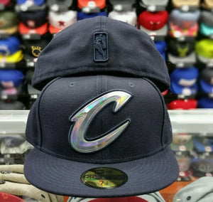 New Era NBA Iridescent Foil logo Blue Cleveland Cavaliers 59Fifty Fitted Hat Cap