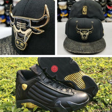 Load image into Gallery viewer, Matching New Era Chicago Bulls Fitted Hat for Jordan 14 DMP Black Gold Metal