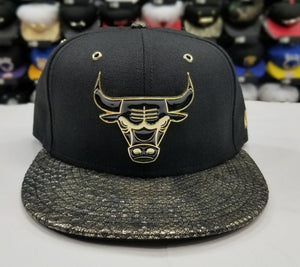 Matching New Era Chicago Bulls Fitted Hat for Jordan 14 DMP Black Gold Metal