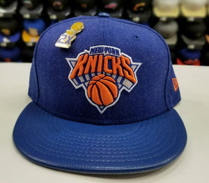 Exclusive New Era NBA New York Knicks 2X Pin trophy Championship fitted Hat Cap