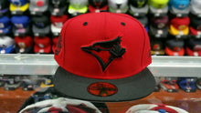 Load image into Gallery viewer, Matching New Era Toronto Blue Jays Fitted hat Jordan 5 Red Suede History Flight