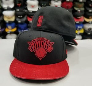 Exclusive New Era 59Fifty NBA New York Knicks RED Metal Badge Logo Fitted Hat