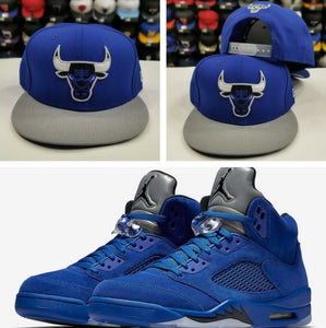 Matching New Era 9Fifty NBA Chicago Bulls snapback Hat for Jordan 5 Royal Blue Suede