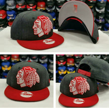 Load image into Gallery viewer, Exclusive New Era XL Chicago Black Hawks snapback Hat Dark Grey / Red