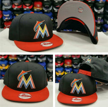 Load image into Gallery viewer, Exclusive New Era MLB Miami Marlins Black Team Color 9Fifty Snapback