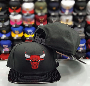 Exclusive New Era 9Fifty NBA Chicago Bulls Black Patent Leather snapback Hat cap