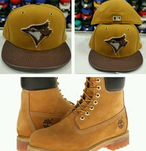 Load image into Gallery viewer, Matching New Era Toronto Blue Jays 59Fifty fitted hat for Timberland Tan & Brown