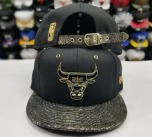 Load image into Gallery viewer, Matching New Era Chicago Bulls strapback Hat for Jordan 14 DMP Black Gold Metal